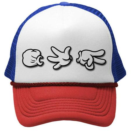Rock Paper Scissor Costume (ROCK PAPER SCISSORS HANDS - mickey hip hop rap Mesh Trucker Cap Hat,)
