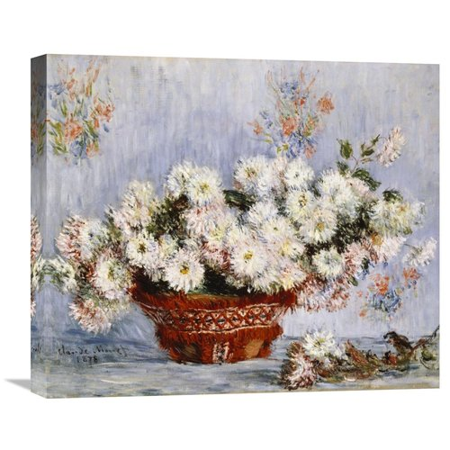 Global Gallery Chrysanthemums by Claude Monet Painting Print on Wrapped Canvas