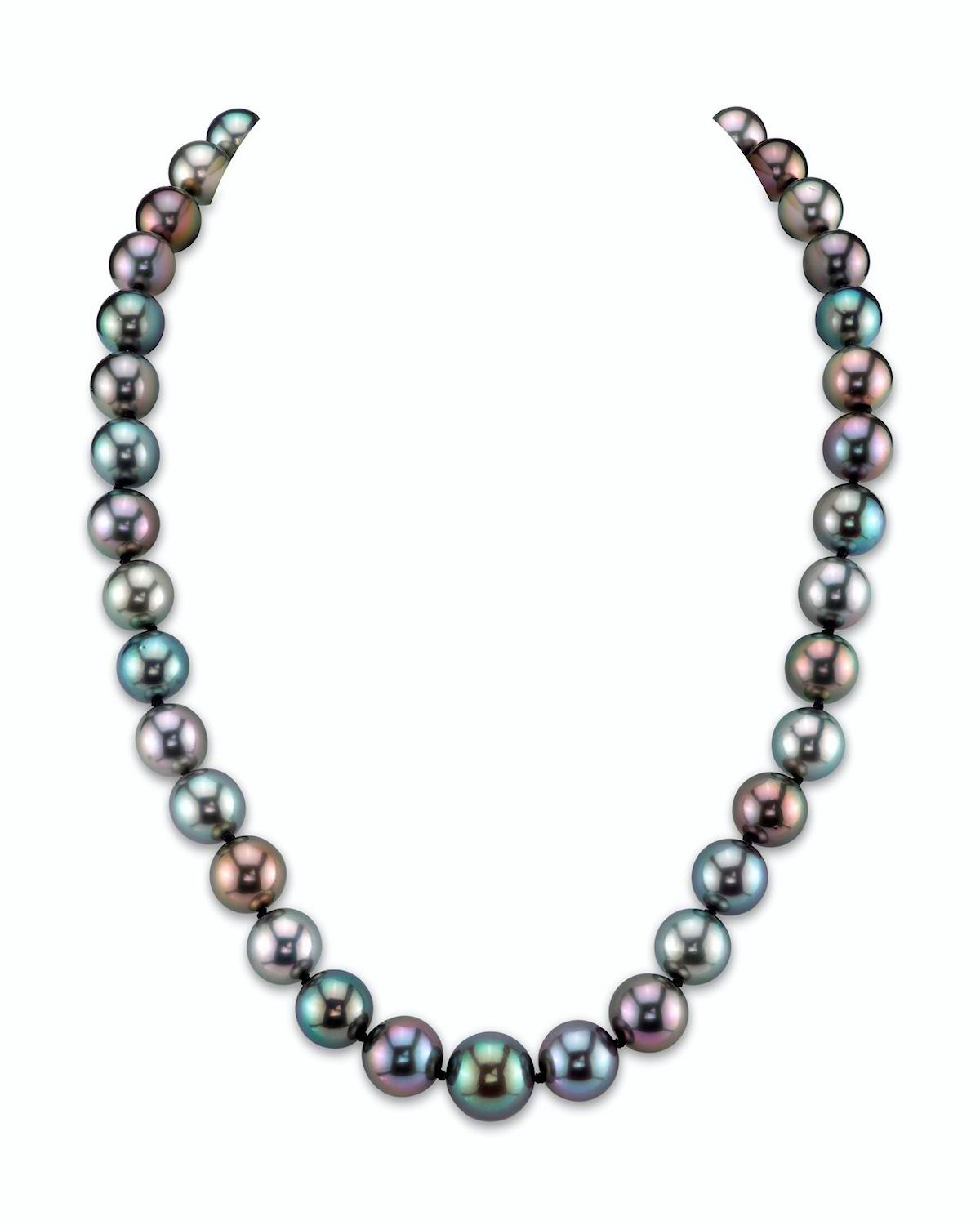 """14K Gold 9-11mm Tahitian South Sea Multicolor Cultured Pearl Necklace AAA Quality, 20"""" Length by The Pearl Source"""