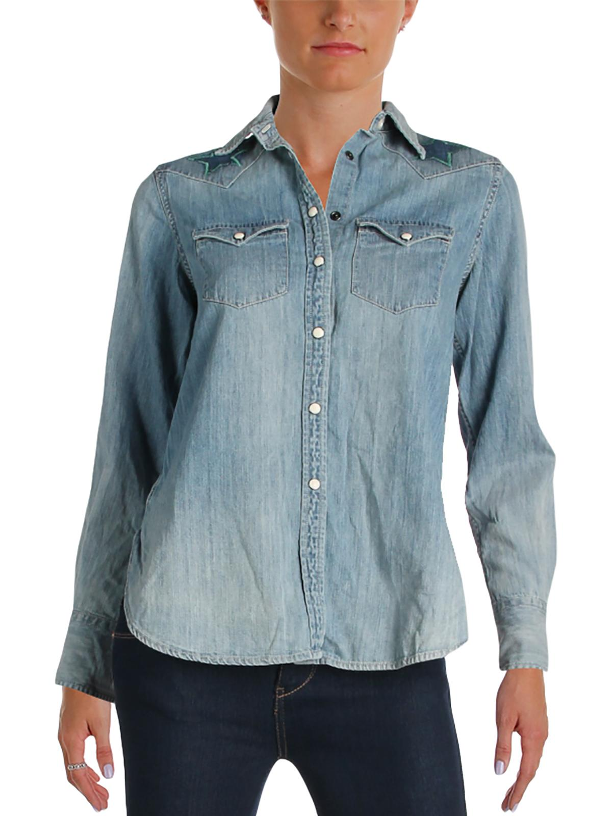 Denim & Supply Ralph Lauren Womens Chambray Embroidered Button-Down Top Blue S