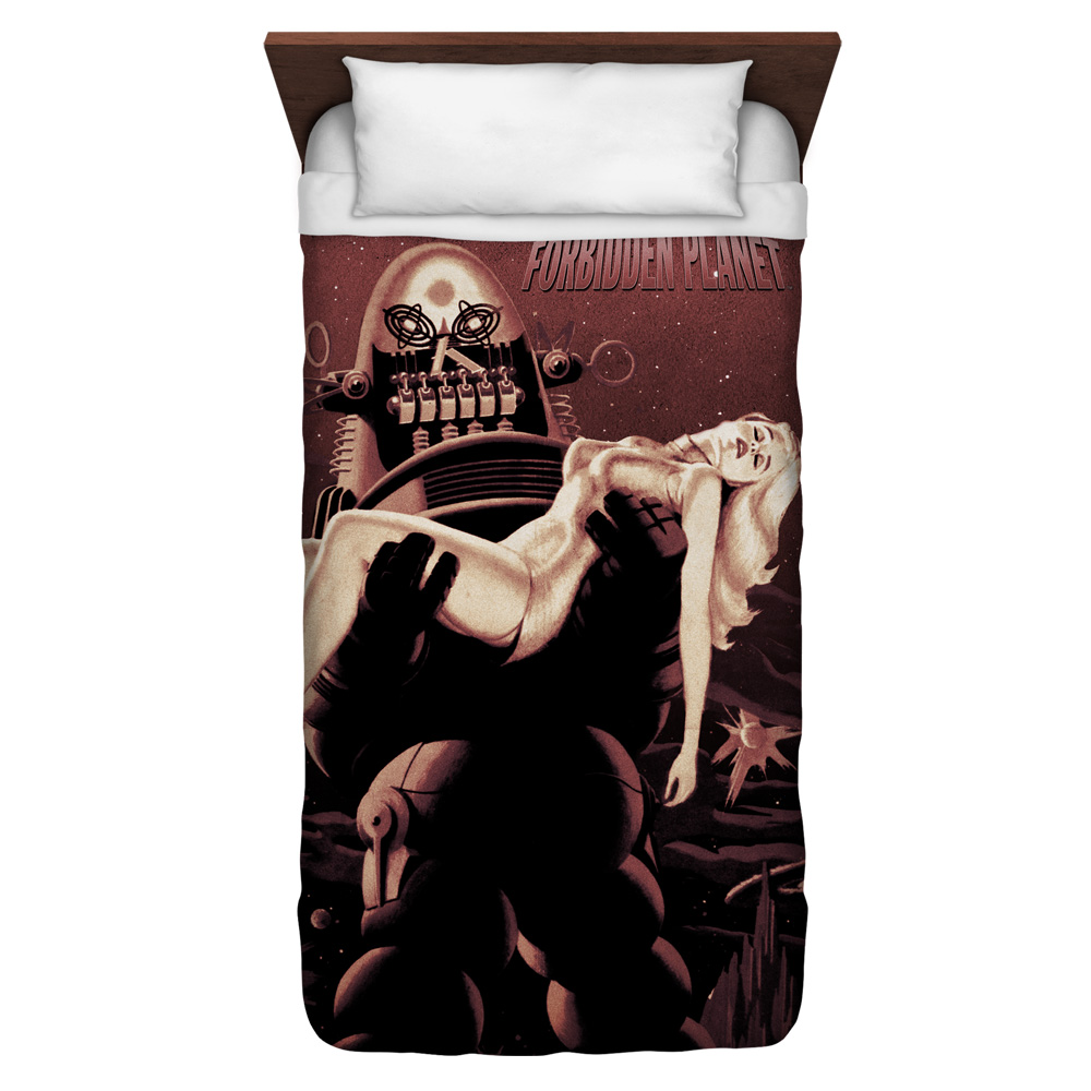 Forbidden Planet Poster Twin Duvet Cover White 68X88