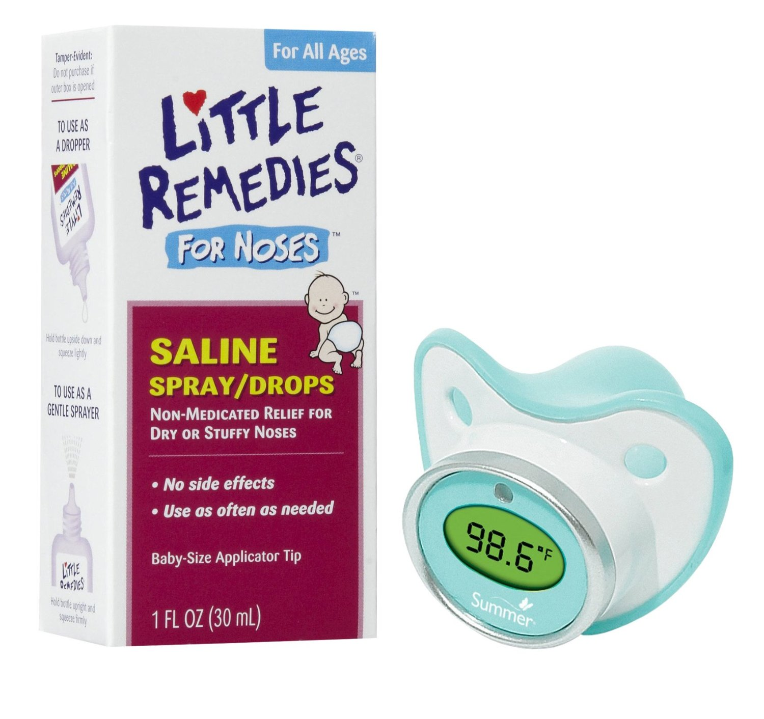 Little Remedies Saline Spray/Drops for Stuffy Noses with Pacifier Thermometer