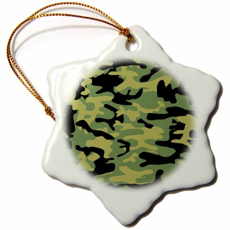 3dRose Green camo print - army uniform camouflage pattern - boys military soldier blend texture, Snowflake Ornament, Porcelain, 3-inch - Camo Christmas Ornaments