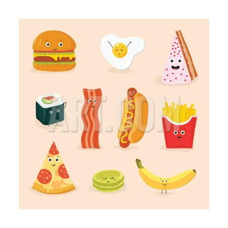 Face Icon Pizza Cake Scrambled Eggs Bacon Banana Burger Hot Dog Roll French Fries. Funny Food Carto Print Wall Art By GoodStudio - Funny Banana