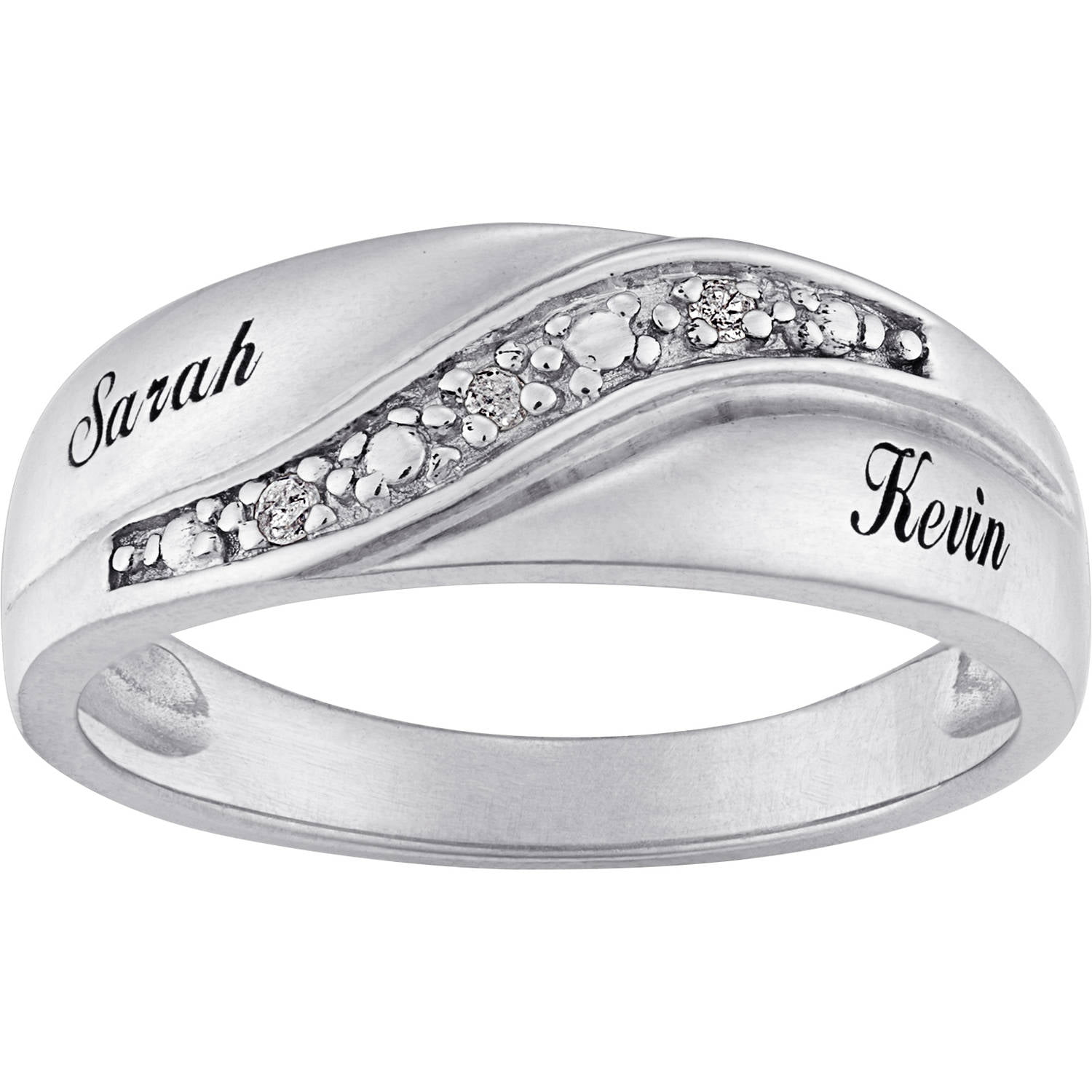 Personalized Sterling Silver Mens Diamond Accent Name Wedding Band