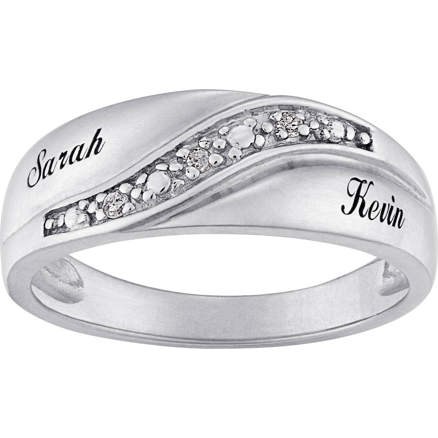 Etonnant Personalized Sterling Silver Mens Diamond Accent Name Wedding Band