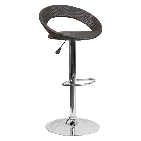 Flash Furniture Contemporary Wicker Rounded Back Adjustable Height Barstool with Chrome Base