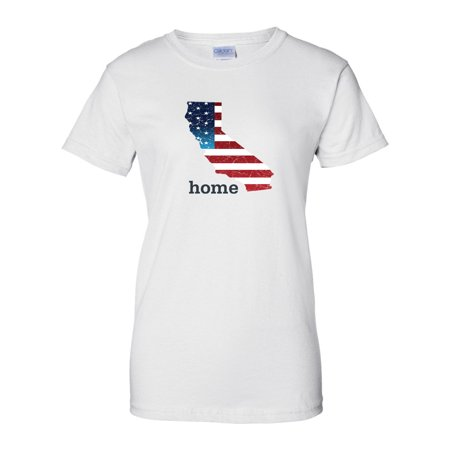 08ee65b6a29ae Patriotic American Flag California State Womens 4th of July T Shirt Size XS  - 3X - Walmart.com