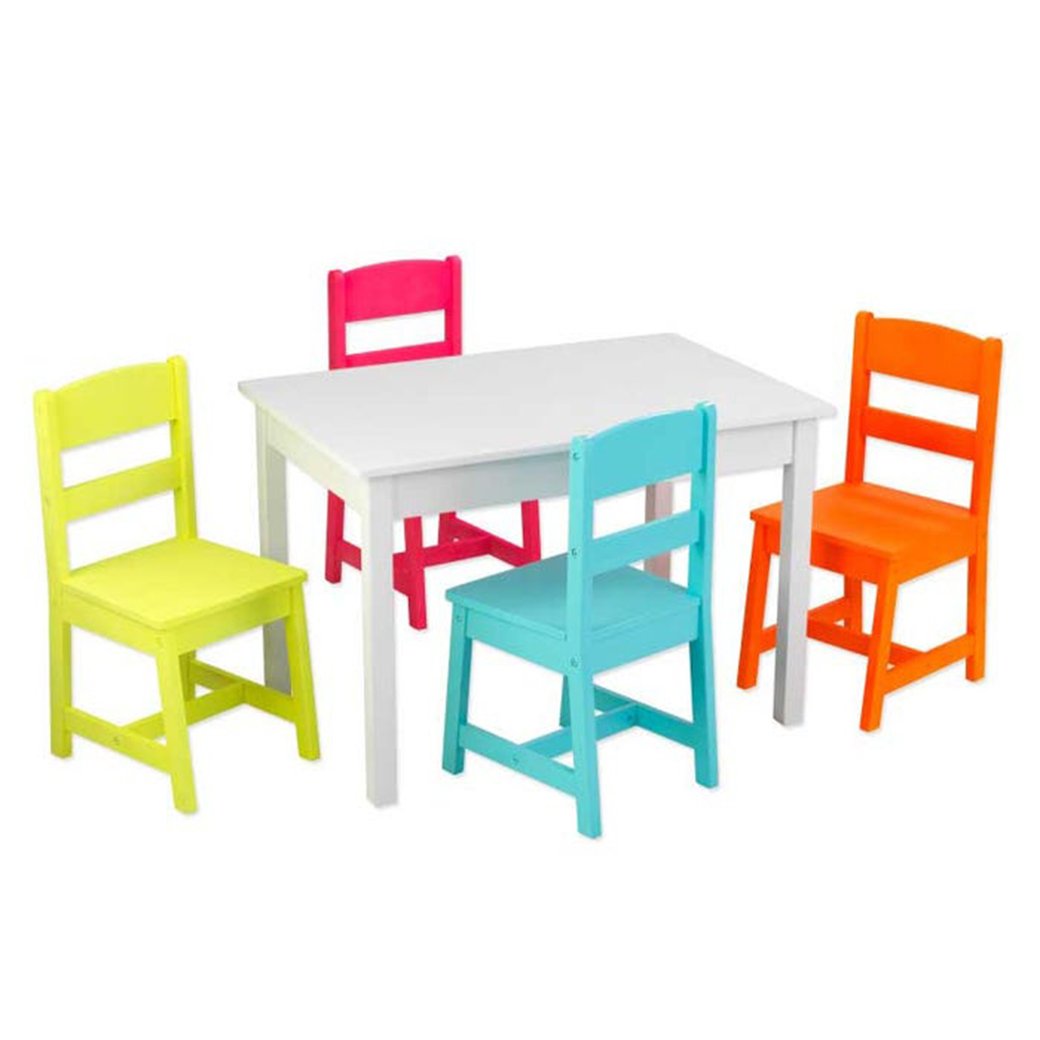 KidKraft Kids Wooden Highlighter Table and Four Chair Set, Multicolored