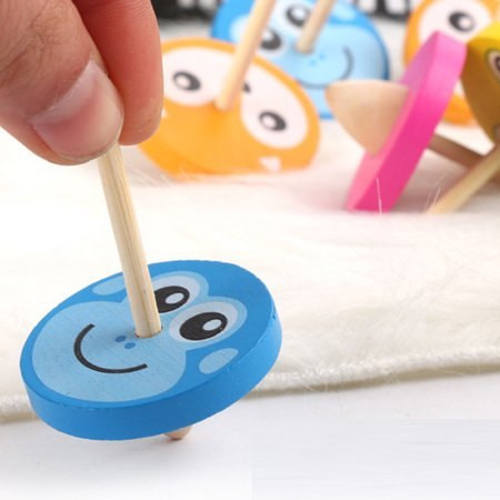 Colorful Funny Handmade Painted Wood Spinning Tops Wooden Educational Toys