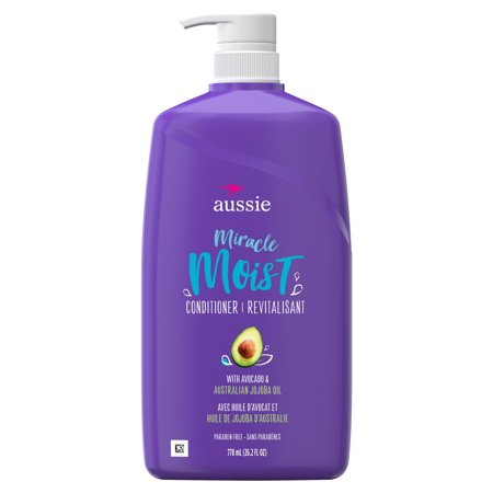 Aussie Paraben-Free Miracle Moist Conditioner w/ Avocado & Jojoba Oil For Dry Hair, 26.2 fl