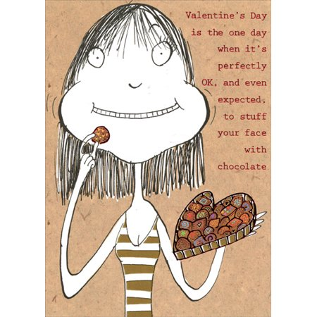 Recycled Paper Greetings Stuff Your Face With Chocolate Funny Valentine's Day