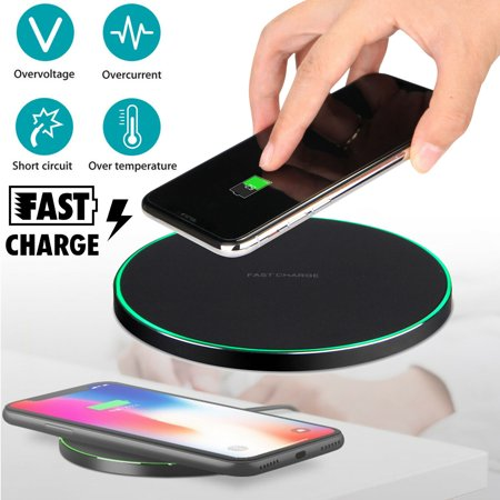 QI Wireless Fast Charger CellPhone Charging Pad Mat for iPhone XS/XR/X/8 Samsung Galaxy Note 9 / S9 / S8 Plus ()
