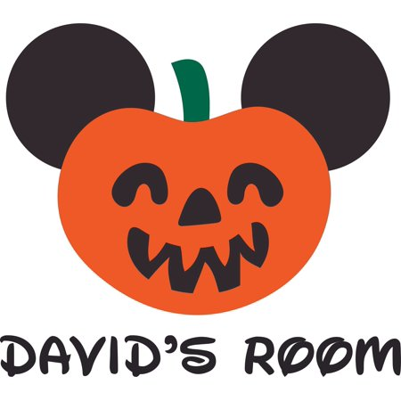 Pumpkin Head Halloween Personalized Name Custom Names Mickey Mouse Disneyland Fun Fun Family Happiest Place On Earth Ears Wall Decals Decal Walls Stickers Sticker Rooms Decoration Size (20x20 (Mickey's Halloween Party Disneyland California Adventure)