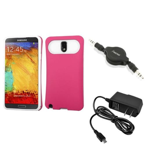 Insten Pink Wallet Back Case+AC Charger+Audio Cable For Samsung Galaxy Note 3 N9000