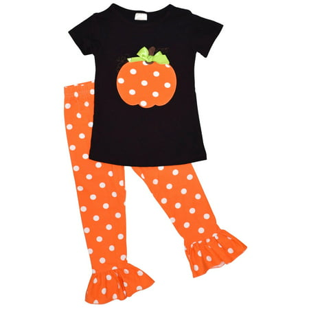 Unique Baby Girls Fall Fashion Halloween Polka Dot Pumpkin Outfit (5)
