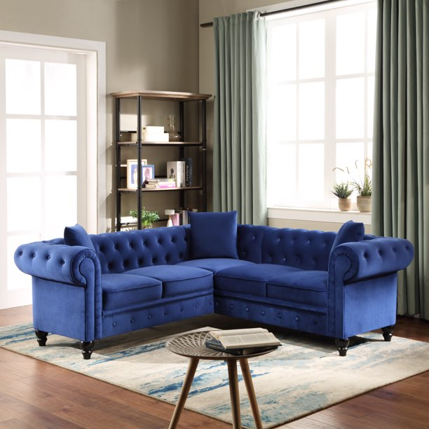 Velvet Tufted Sofa For Living Room Urhomepro Mid Century L Shape Sectional Sofa Classic Chesterfield Sofa With Rolled Arm And Pillows Elegant Couch For Bedroom Office 5 Seater Blue W5855 Walmart Com