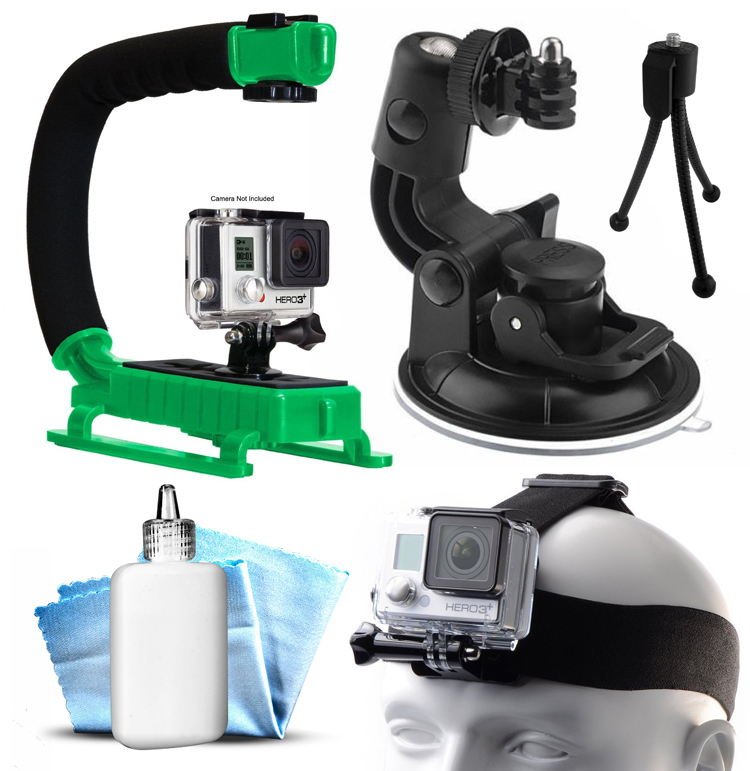 Opteka xGrip Stabilizing Action Grip Handle Handheld Holder (Green) , Car Mount+ Head Band Helmet Harness Strap Mount, Mini Tripod, Dust Removal Cleaning Care Kit for GoPro Hero4 Hero3+ Hero3, Camera