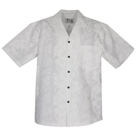 Hibiscus White Hawaiian Wedding Shirt
