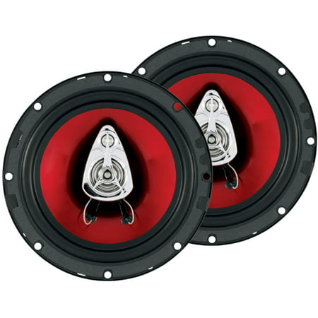 Boss 6.5 Inch 300 Watt 3-Way Car Coaxial Audio Red Stereo Speakers CH6530 -