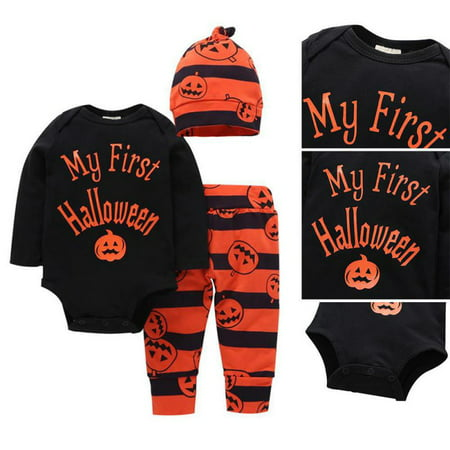 Halloween Baby Boys Girl Top Romper Pants Hat Bodysuit Outfits Set Clothes