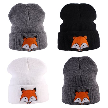 (Asian Size)Winter Kids Toddlers Baby Girls Boys Fox Pattern Knitted Warm Hat Beanie Cap