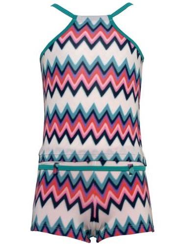 Planet Sea Little Girls Multi Color Chevron 2Pc Shorts Tankini Swimsuit 4-6