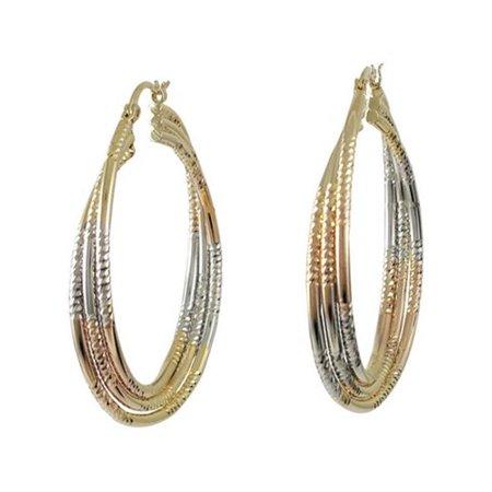 Dlux Jewels Tri Color Three Ring Brass Hoop Earrings - image 1 de 1