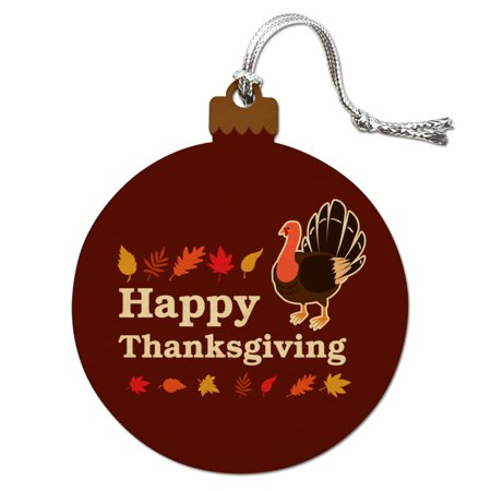 - Happy Thanksgiving Turkey Wood Christmas Tree Holiday Ornament