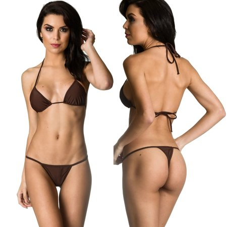 Women's Coqueta Swimwear Brazilian Triangle Top Bottom set Teeny Micro Thong Mini Bikini Swimsuit G String BROWN-XL