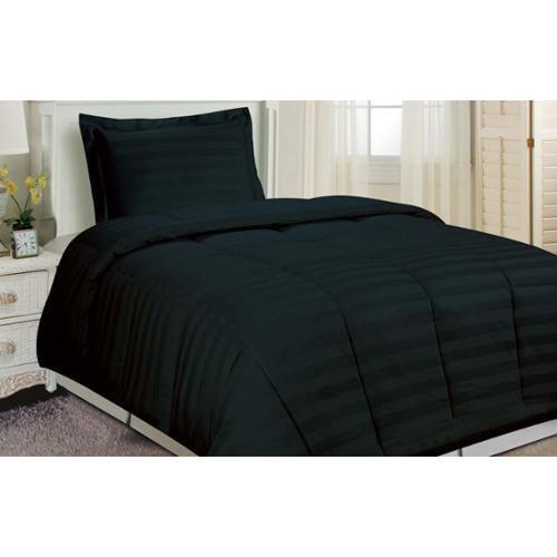 Damask Stripe Comforter Set Black Twin