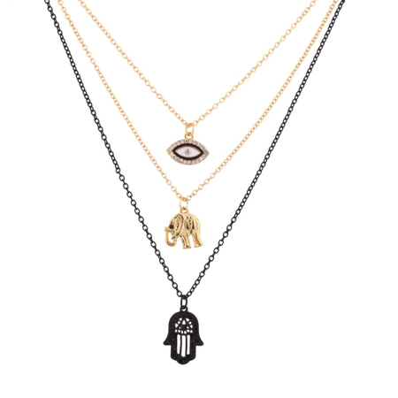 Eye Hamsa Necklace - Lux Accessories Hamsa Elephant Pave Evil Eye BFF Best Friends Forever Necklace Set (3 PC)