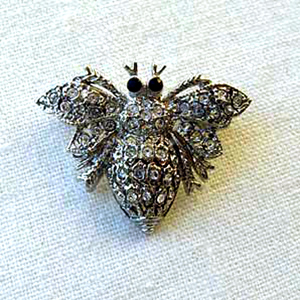 Platinum-Plated Swarovski Crystal Enamel Bee Pin  Brooch (1 2 x 1) Gift Boxed by