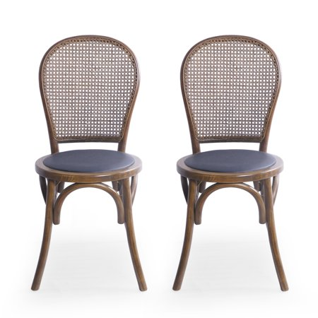 Emerys Beech Wood and Rattan Dining Chair with Faux Leather Cushion (Set of 2), Natural Finish and Black ()