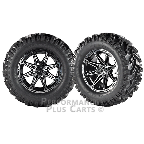 """Element 12X7 Black and Machined Golf Cart Wheels with 23"""" Mud Tires - Set of 4"""