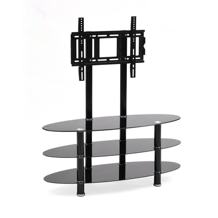 Hodedah Black 3 Shelf Glass Tv Stand With Mount For Tvs Up To 42