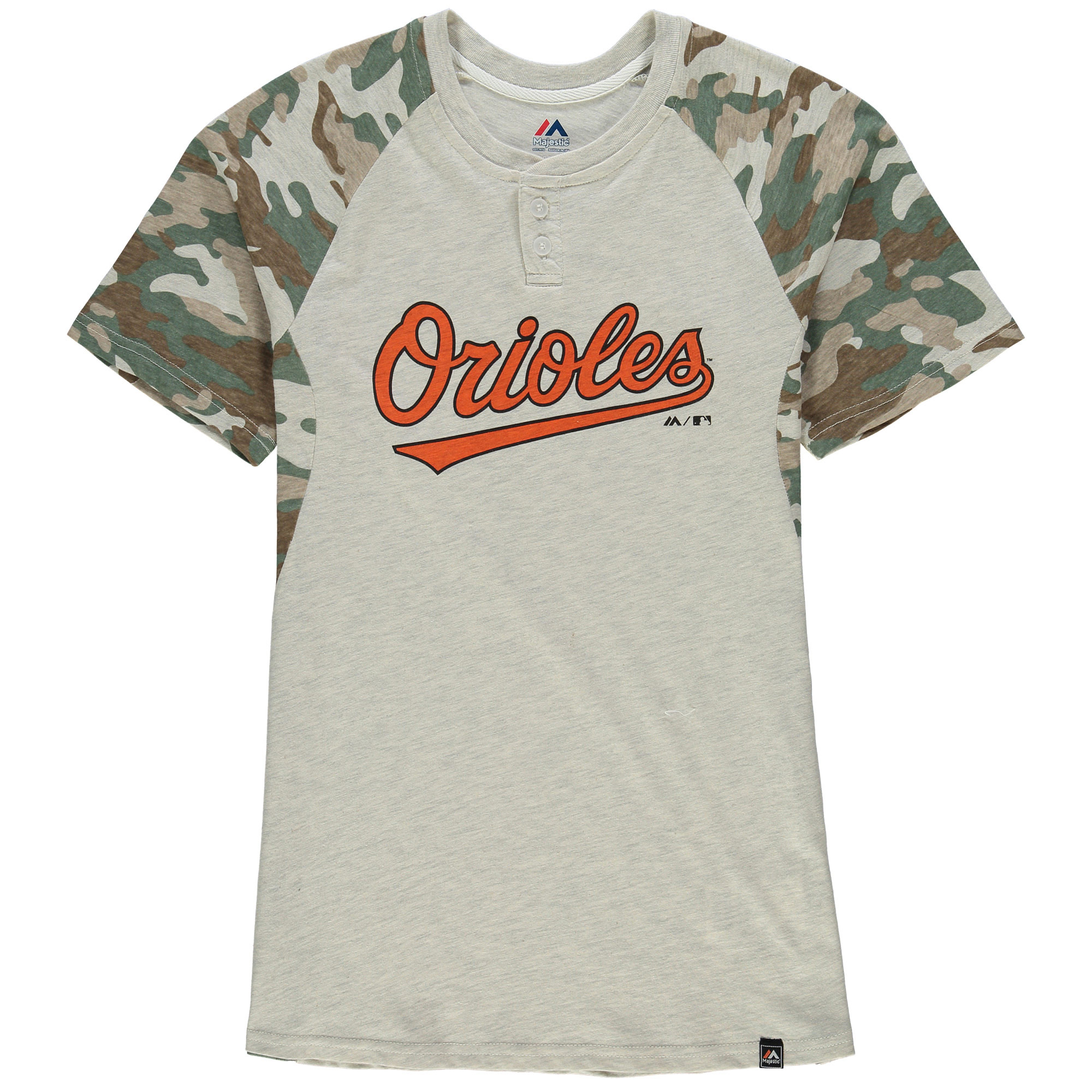 Baltimore Orioles Majestic Youth Base Stealer Henley T-Shirt - Cream/Camo