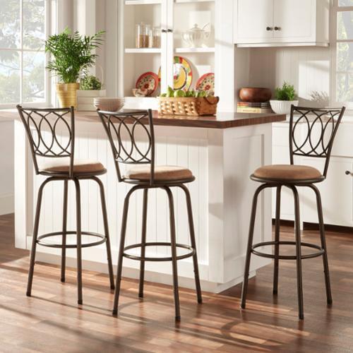 3 Adjustable Swivel Bar Stool Set Counter Height Kitchen: TRIBECCA HOME Avalon Scroll Adjustable Swivel Counter