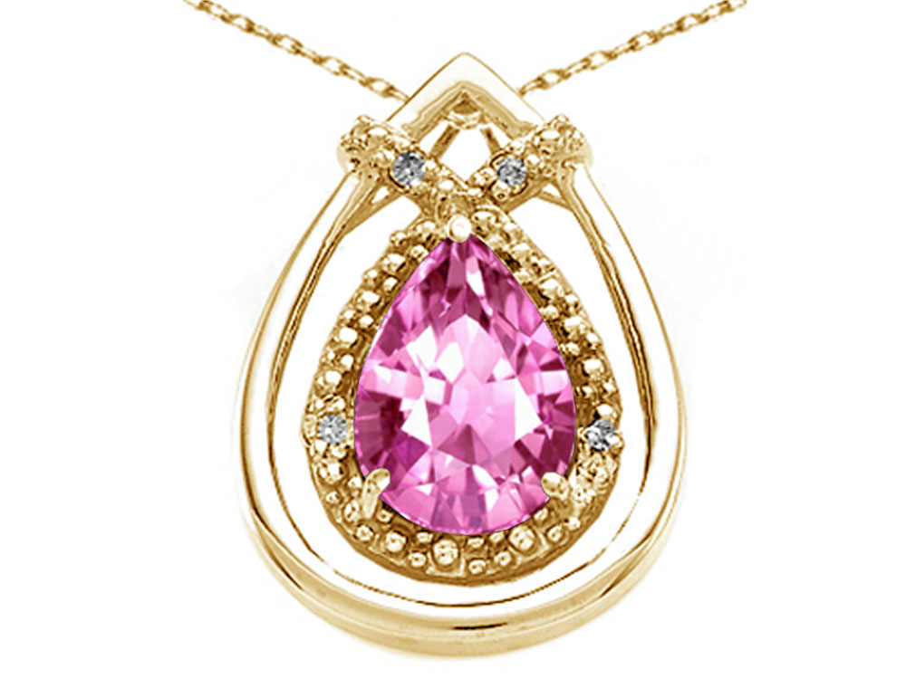 Tommaso Design Pear Shape 8x6mm Simulated Pink Tourmaline Pendant Necklace by