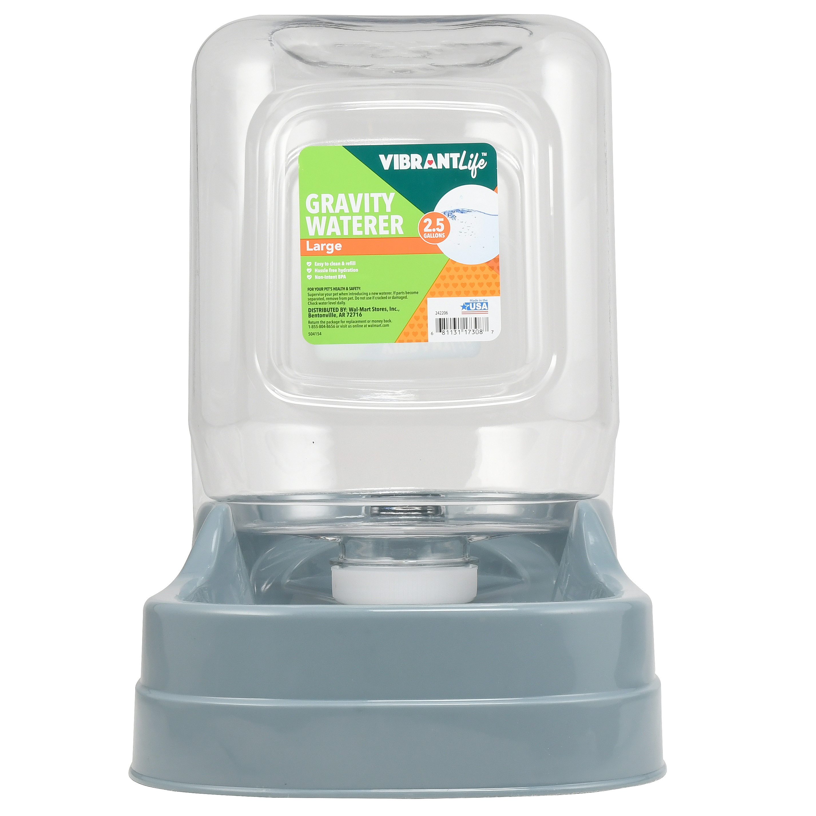 Vibrant Life Gravity Pet Waterer, Large, 2.5 Gal