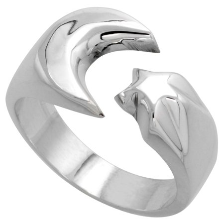 Sterling Silver Crescent Moon & Star Ring Handmade 1/2 inch wide