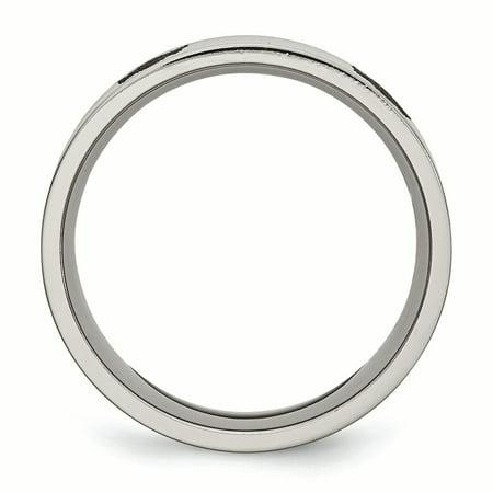 Titanium Flat 8mm Laser Design Polished Band Ring 7 Size - image 5 of 6
