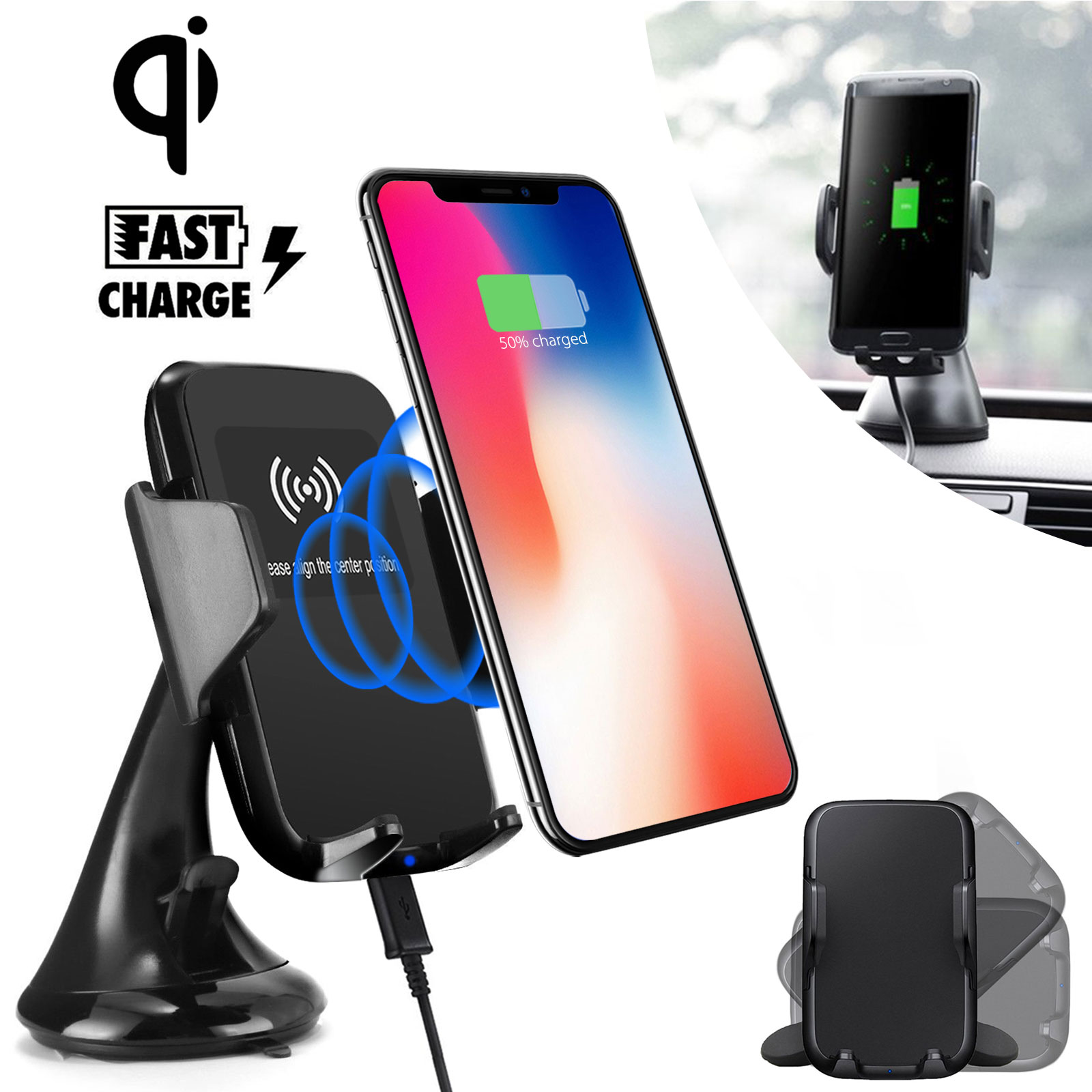 Fast Qi Wireless Car Charger Mount, Quick Charging Car Dash Board Wind Sheild Phone Holder for Samsung Galaxy Note 8 S9/S8/S8 Plus/S7 Edge/S7, iPhone X/8 Plus and more