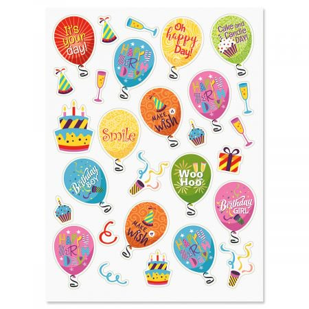 - Birthday Balloons & Words Stickers - 56 Birthday Stickers on two 8-1/2
