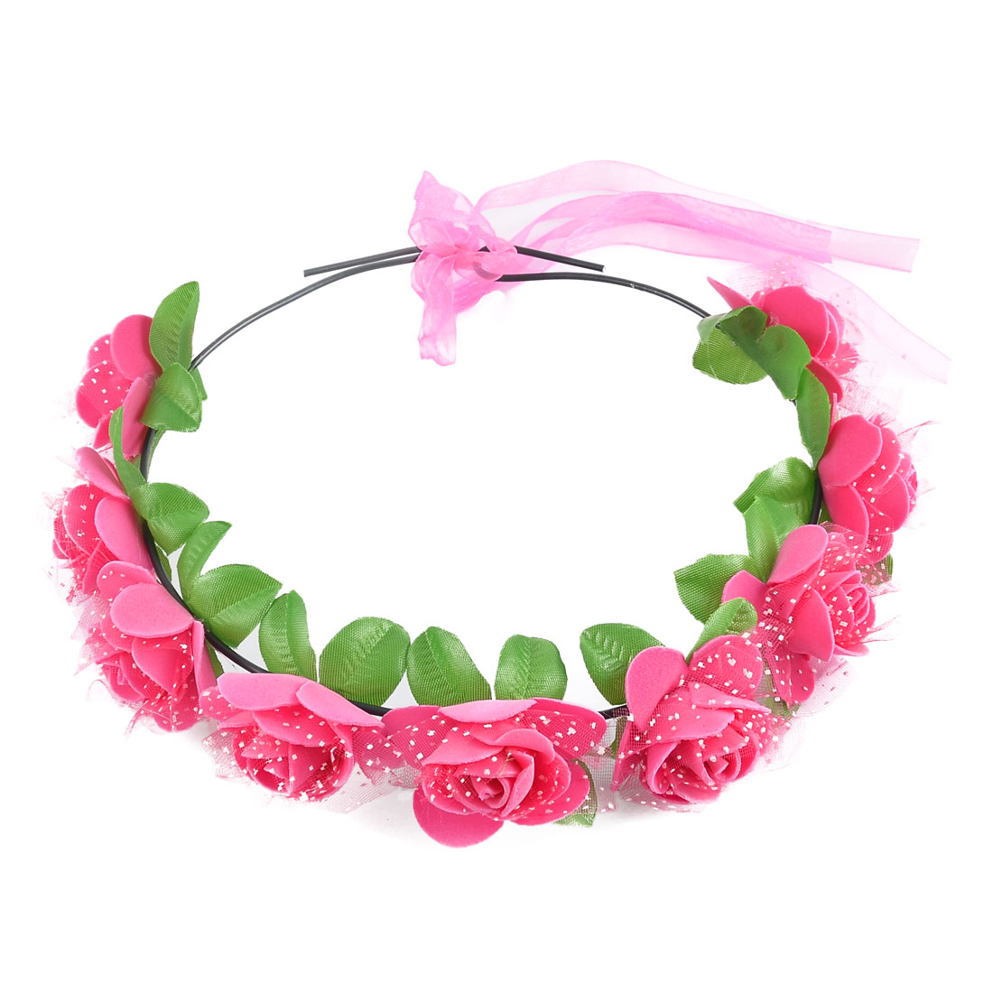 Women HandmadeFlowers Ribbon Band Festival Head Wreath