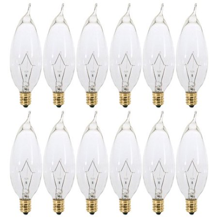 - (12 Pack) 25 Watt Clear Flame Shaped Incandescent Light Bulb, Candelabra Base