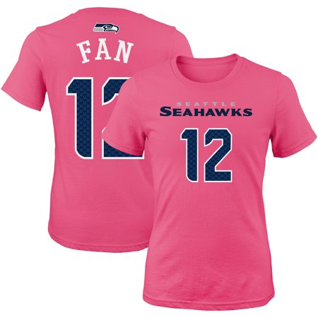 12s Seattle Seahawks Girls Youth Mainliner Player Name & Number T-Shirt - Pink](Pink Seahawks)