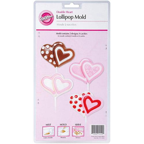 Wilton 4-Cavity Lollipop Mold, Double Heart 2115-4440 by Wilton