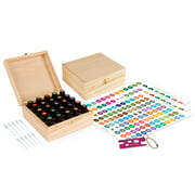 Wood Essential Oil Box Organizer - Holds 25 Oils - Includes Essential Oil Sticker Labels, Bottle Top Removal Tool & Pipettes (Droppers)