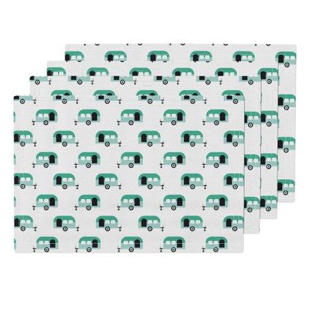 Cloth Placemats Trailer Cool Dutch Caravan Travel Vacation Mint Green Set of 4